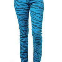 Criminal Damage Skinny Jeans - Zebra (Blue/Black)