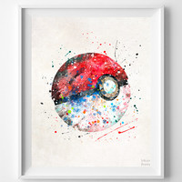 Pokeball Print, Watercolor, Pokemon Poster, Animation, Art, Baby Room, Nursery Art, Illustration, Giclee Wall Art, Back To School