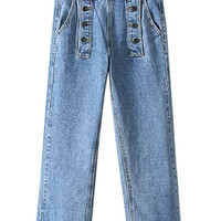 Blue Double Breasted Cropped Palazzo Jeans