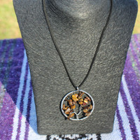 Sale: Silver Tiger Eye Tree of Life Pendant Necklace