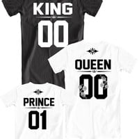 King Queen Prince matching family t-shirts with custom number