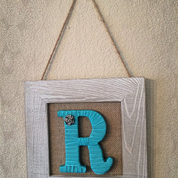 Turquoise Burlap Wall Hanging-Shabby Chic Framed Monogram by Tightly Wound Designs