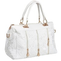 Fashioncity Lady Elegant Lacework Handbag Single Shoulder Polyurethane Tote White  FC12549 = 1958040196