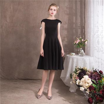 O-Neck Sleeveless Backless Black Cocktail Dresses Famous Bow Simple Little Black Dress
