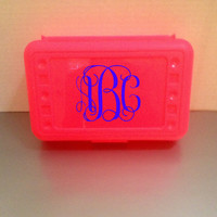 Monogrammed Pencil Box - Crayon Box - Art Box - School Box - NEON PINK - Art Container - Personalized - Customized - Kids - School Supplies