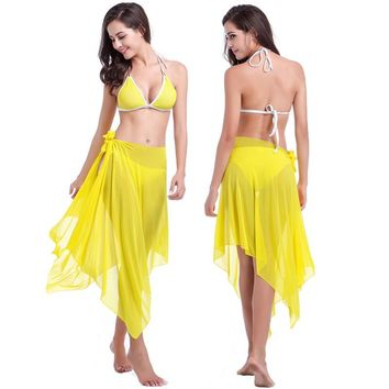 Sexy Scarves Summer Swimwear Dress Beach Cover Up Pareo Sarongs Bikini Scarf Tunic Wraps Yellow 10 Wear Holiday Skirt HQVB012