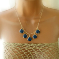 Navy Blue - Midnight Blue Jade Stone - Bib Necklace - Statement Necklace - Bridesmaids Necklace