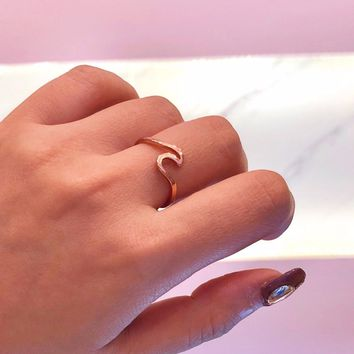 Mossovy Wave Alloy Silver Rings Charms Rose Gold Ring Wedding Rings for Women Fashion Jewelry Bague Femme Anillos Mujer