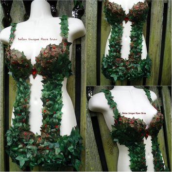Poison Ivy Monokini Body Suit Costume Rave Bra Rave Wear Cosplay Halloween
