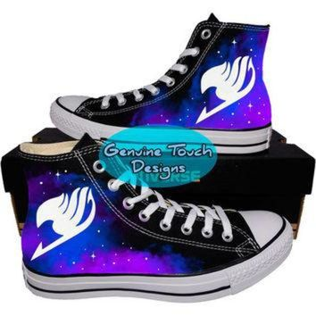 ONETOW Custom Converse, Fairy Tail, Galaxy shoes, Anime shoes, Custom chucks, painted shoes,
