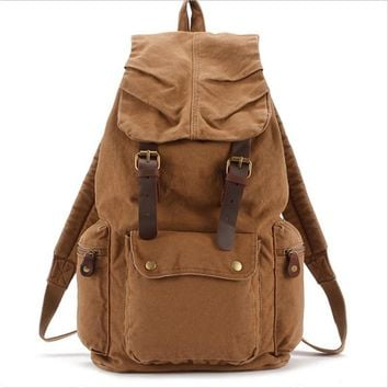 2016 bagpack rucksack van mochila escolar Vintage Leather military Canvas backpack Men's backpack school bags