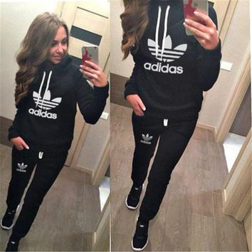 "Multi-color ""Adidas"" Letter & Logo Print Winter Print Casual Hoodie Sportswear Set = 4"