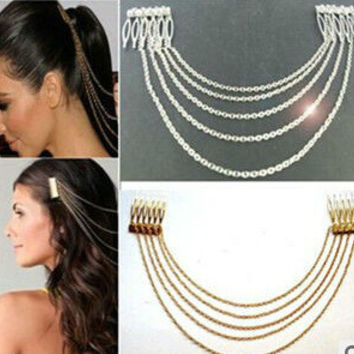 Accessory Punk Metal Shiny Tassels Chain Hair Accessories Brush [6044712257]