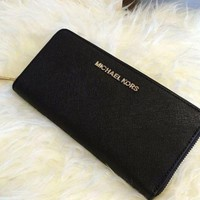MICHAEL KORS Jet Set Travel Zip Around Saffiano Leather Wallet Black