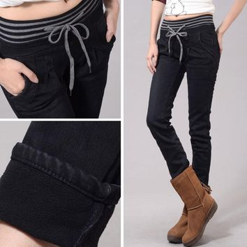 Autumn and winter plus velvet thickening jeans pants elastic skinny pants pencil pants plus size clothing