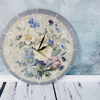 Vintage style romantic delicate blue flowers decoupage wooden wall clock gift idea for her white pastel silver blue rose retro style