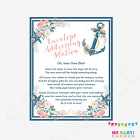 Envelope Addressing Printable, Nautical Baby Shower Sign, Write Your Address, Pink and Blue Nautical, Instant Download, Girl Boy NA01