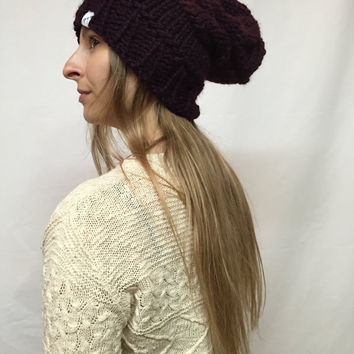 Knit Slouchy Hat Beanie Dark Purple Eggplant Warm And Cozy