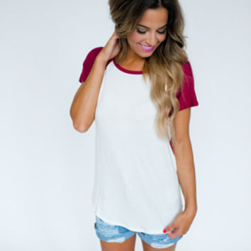 Short Sleeve Baseball Tee- Maroon