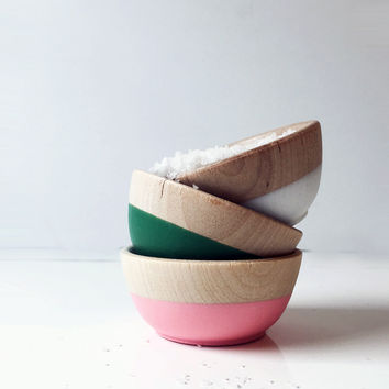 Beech Wood + Rubber Pinch Bowls, Set of 3, Mother's Day Collection