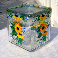 Glass Jar / Canister With Painted Sunflowers
