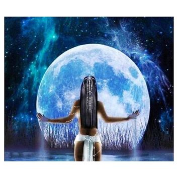 5D Diamond Painting American Indian Woman in the Moonlight Kit