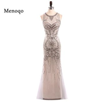Menoqo Sexy Mermaid Prom Dress Real Photos Tulle Beaded Party Occasion Formal Long Prom Dress 2018