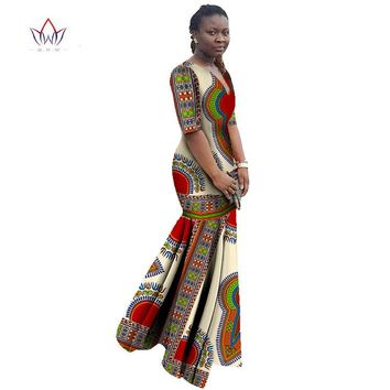 African Dresses for Women Ankara Fashions Maxi Dress Half Sleeve Trumpet Mermaid Dress