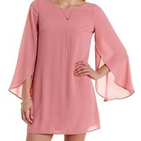 Cinnamon Tulip Bell Sleeve Shift Dress by Charlotte Russe