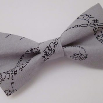 Gray Musical Notes Clip on Bow Tie - Mens, Childrens, Womens Sizes - Cotton Fabric Gray and Black