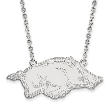 NCAA Sterling Silver U of Arkansas Large Pendant Necklace