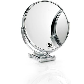 DWBA Round Cosmetic Table Makeup ADJ Magnifying Mirror. Chrome