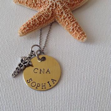 CNA necklace or keyring, certified nursing assistant, medical, gifts for CNA, gifts for nursing, handstamped, personalized