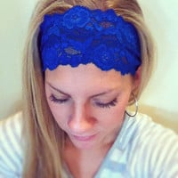 Cobalt - Thick Lace Headband