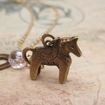 Horse Necklace with horseshoe and crystal by trinketsforkeeps