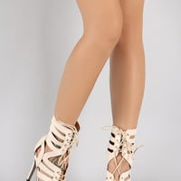 Strappy Peep Toe Lace Up Heel