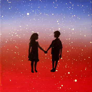 """Art original Landscape anniversary gift painting Original Painting """"Love Struck"""" romantic i love you to the moon and back red painting"""
