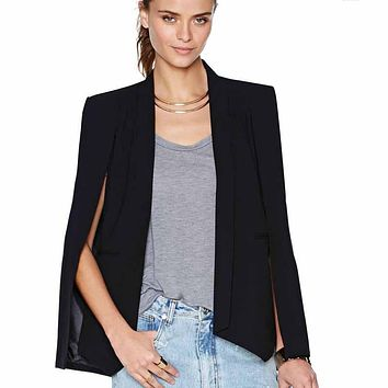 New promo women spring asymmetric blazers slim long sleeve split poncho jacket coats casual ladies cape blazer plus size WDC465