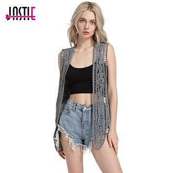 Asymmetric Open Stitch Hippie Style Crochet Knit Vest