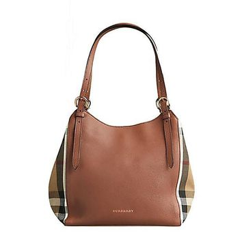 CREYIX5 Tote Bag Handbag Authentic Burberry Small Canter in Leather and House Tan color Made in Italy