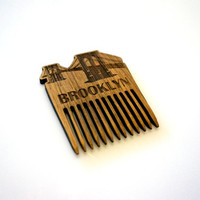 Brooklyn Bridge Wooden Beard Comb New York Wooden Mustache Comb For Him Fathers Day Men Gift for Him Husband Friend Gift