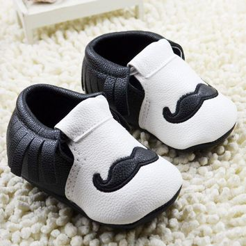 Moustache Leather Moccasins Baby Boy Moccs First Walkers