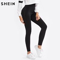 SHEIN Perforated Side Leggings Black Casual Fitness Leggings High Waist Activewear for Women Workout Clothes for Women