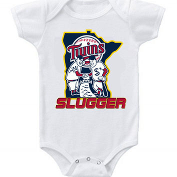 New Cute Funny Baby One Piece Bodysuit Baseball Slugger MLB Minnesota Twins Classic