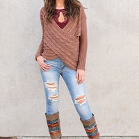 Zuri Surplice Sweater (Bronze)