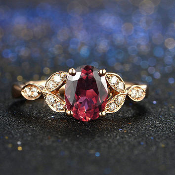 Antique Style Red Tourmaline Rubellite Diamond Ring in 18k Rose Gold Milgrain Engagement Wedding Birthday Anniversary Valentine's