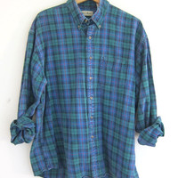Vintage blue and green plaid cotton shirt / Tomboy Grunge Shirt / button up shirt / LL Bean street wear