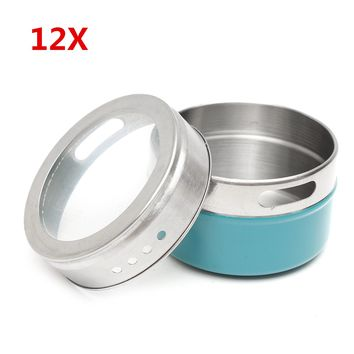 12Pcs Stainless Steel Magnetic Spice Tins Storage Container Jars with Clear Lid