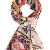 FOREVER 21 Paisley Print Scarf Cream/Multi One