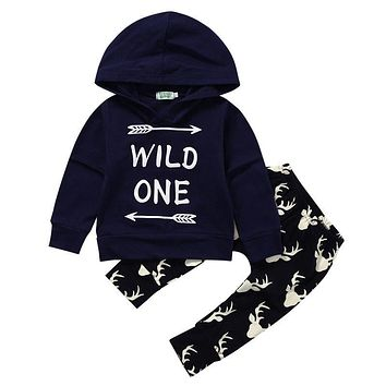 Newborn Baby Boys Tops Wild One Hoodies Long Deer Pants Outfits Set Clothes NEW Infant Kids Boy Clothing Children Kid Garments